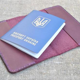 Обложка для паспорта бордового цвета из натуральной кожи  P01-800