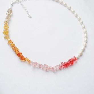 Ожерелье из натурального речного жемчуга и кварца, летний чокер 2020