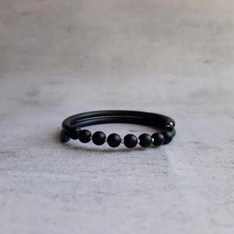Стильный черный браслет с камнями шунгита и гематита. Изящный браслет. Подарок.