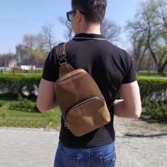Мини рюкзак мужской из натуральной кожи