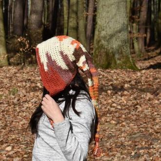 Шапка  капюшон вязаный крючком Капор женский Капюшон демисезонный разноцветный Шапка Капор