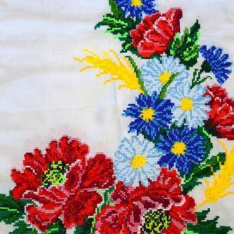 Полевые цветы. Свадебный рушник ручной вышивки