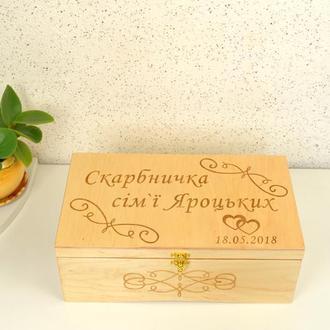 Шкатулка коробка купюрница для денег с отделениями семейный банк бюджет из дерева с гравировкой