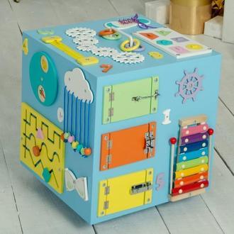 Бизибокс 40х40 см з дошкою для малювання, бізікуб, бізіборд, бізібокс для хлопчика, бизибокс