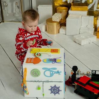 Бизибокс 30х30 см, развивающая игрушка, бизиборд, бізіборд, бизибокс для малыша