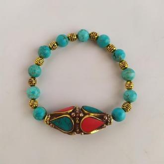Тибетский браслет из натурального камня - бирюза