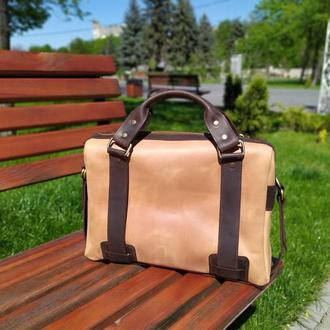 Деловая кожаная сумка для ноутбука, документов