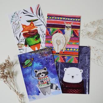 "Набор открыток ""Животные"". 4 штуки: лис, енот, лама, мишка. Формат А6"