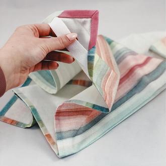 Хлопковое полотенце в разноцветную полоску. Кухонное полотенце. Украшение кухни. Прихватка с хлопка.