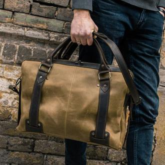 Кожаный портфель для ноутбка, Мужская кожаная сумка зеленая