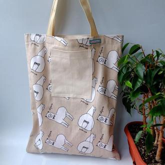 Сумка для покупок с принтом альпак, эко сумка, эко торба, сумка шоппер 19 (2)