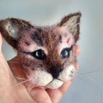 Валяная брошь  кот