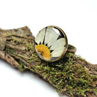 Кольцо с ромашкой