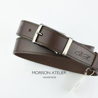Мужской кожаный ремень для брюк Классический коричневый мужской ремень Подарок мужчине срочно Ремень