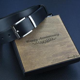 Мужской черный ремень из натуральной кожи Именной кожаный ремень для мужчины Подарок начальнику