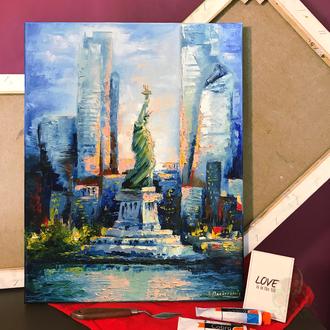 Картина маслом 40х50 Нью-Йорк