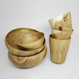 Набор Деревянной Посуды для Кухни. Предметы Декора для Кухни