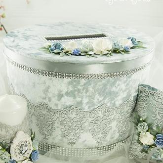 Сундук для денег платиновый / Скриня для грошей срібна / Коробка весільна голубая