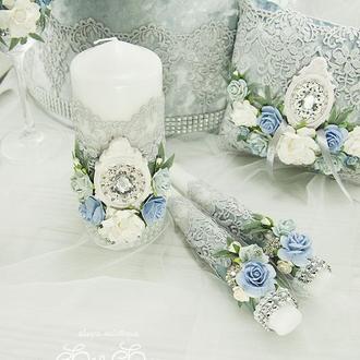 Венчальные свечи голубые / Свечи для свадьбы серые / Свечи серебряные / Срібні свічі