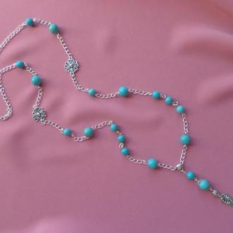 Цепочка, ожерелье с подвеской, бирюза