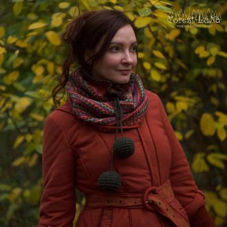 Оригинальный вязаный шарф снуд с большими помпонами с этно принтом