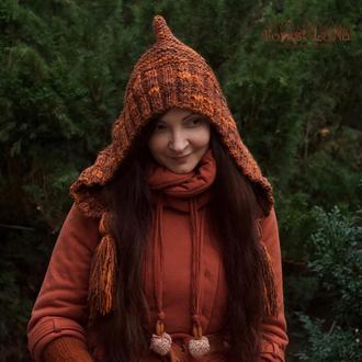 Теплый вязаный капор капюшон с кисточками в Бохо стиле