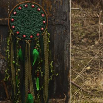 Дизайнерский лесной ловец снов с мухоморами