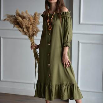РАСПРОДАЖА коллекции 2020! Оливковое летнее льняное платье с открытыми плечами OLIVE PEASANT DRESS