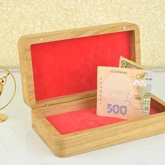Купюрница шкатулка из дерева с гравировкой коробочка для денег на свадьбу  скринька для грошей