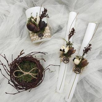Свадебные свечи. Гнёздышко для колец
