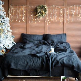 """Постільна білизна з льону """"Вугілля"""",черное постельное белье из льна, льняное постельное черное"""