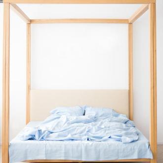 """Постільна білизна з льону """"Небо"""",голубое постельное белье из льна, льняное постельное голубое"""