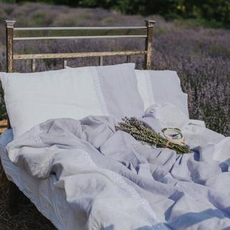 """Постільна білизна з льону """"Марсель"""" Колекція """"Прованс"""",льняное постельное белье с хлопковым кружевом"""