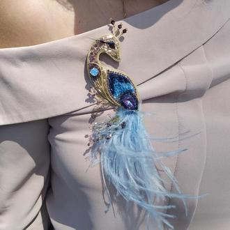 Брошка пташка синя  Брошь птица синяя