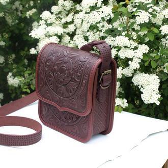 сумка кожаная бордо Триполье