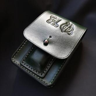 Портсигар кожаный с тиснением и отделением под зажигалку