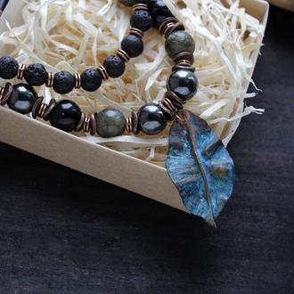 Бусы черные из камня Колье Ожерелье Намисто чорне багаторядне з натуральним камынням