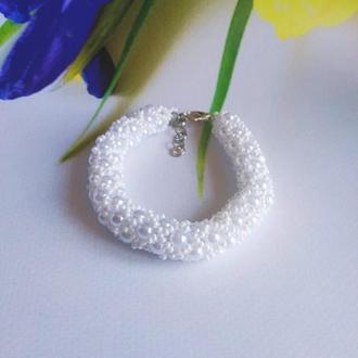 Белый браслет из чешкого бисера Купить красиый браслет Белое украшение Браслет на подарок