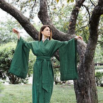 Кимоно в традиционном японском стиле, кимоно из льна кабря стиле,льняное платье-кимоно