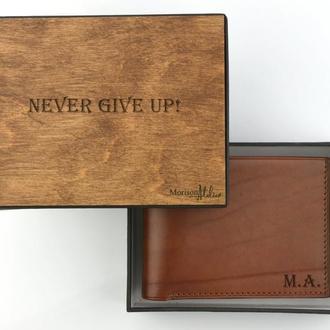 Кожаное мужское портмоне, Коричневый кожаный мужской кошелек, Подарок папе, Именной подарок мужчине