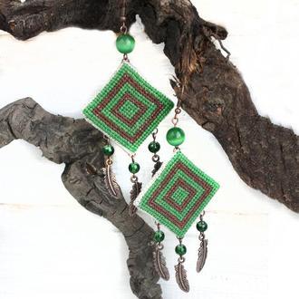 Летние серьги бохо с перьями Зеленые серьги на лето