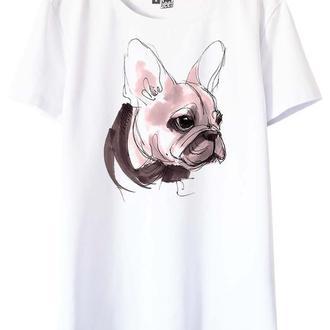 Белая футболка с принтом Бульдог