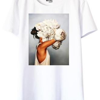 Белая футболка с принтом Flowers