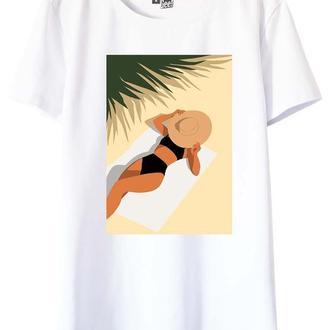 Белая футболка с принтом Summer