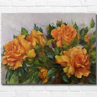 """Картина маслом """"Жёлтые розы"""" 30х40 см, холст на подрамнике, масло"""