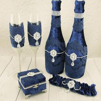 Свадебный набор синий / Синій набір для весілля / Сапфировый набор / Бархатний набор