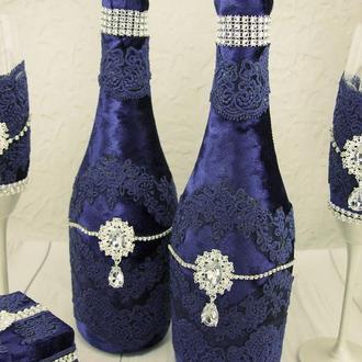 Свадебное шампанское синее / Бархатное шампанское / Весільне шампаське срібне / Сапфировое