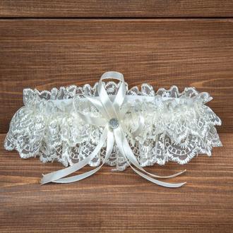 Бежевая подвязка для невесты (арт. G-002)