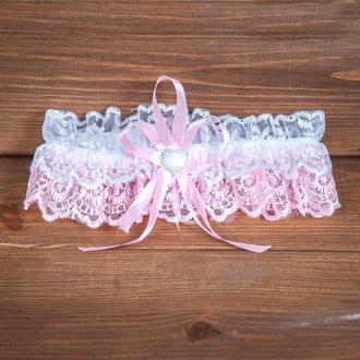 Бело-розовая кружевная подвязка (арт. G-003-1)