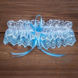 Бело-голубая кружевная подвязка (арт. G-008-1)